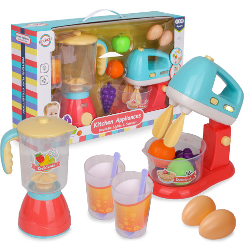 Playkidz Blender and Mixer Kitchen Play Set with Pretend Play Fake Food - Educational Toy - Playset with Lights and Sounds - Recommended for Ages 3+
