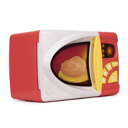 Playkidz Microwave Kitchen Play Set with Pretend Play Fake Food - Educational Toy - Battery Powered Playset with Lights and Sounds - Recommended for Ages Ages 3+