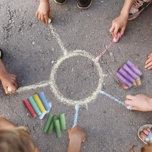 48 PCS Washable Sidewalk Chalks Set Non-Toxic Jumbo Chalk for Outdoor Art Play, Painting on Chalkboard, Blackboard and Playground