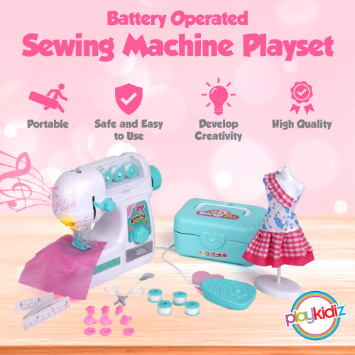 Playkidz Sewing Machine Play Set with Needle Guard - Educational Toy - Fashion Set with Mannequin and Storage Box - Recommended for Ages 7+