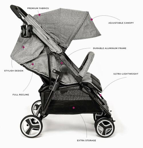 BIBA Double Stroller with 3-Phase Canopy for Maximum Weather Coverage, Lightweight Design Perfect for Travel (Navy Blue)
