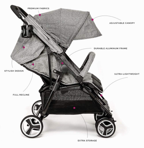BIBA Double Stroller with 3-Phase Canopy for Maximum Weather Coverage, Lightweight Design Perfect for Travel (Charcoal)
