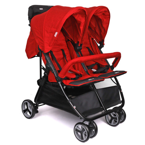 BIBA Double Stroller with 3-Phase Canopy for Maximum Weather Coverage, Lightweight Design Perfect for Travel (Red)