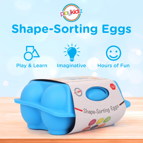 Playkidz Shape Sorting Eggs - Developmental and Educational Toy - Half A Dozen (6) Pieces for Mixing and Matching Color or Shape - Recommended for Ages 18m+