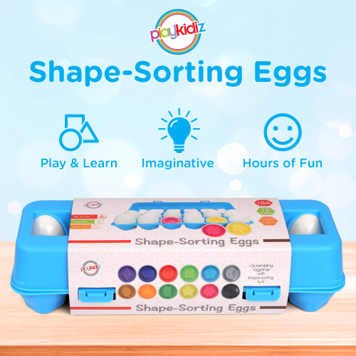 Playkidz Shape Sorting Eggs - Developmental and Educational Toy - A Dozen Pieces for Mixing and Matching Color or Shape - Recommended for Ages 18m+