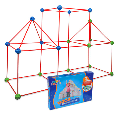 Play Build Construction Fort and Tent for Kids, Building Toys Indoor and Outdoor Playhouse for Kids with 68 Pcs, Encourages Teamwork, Stimulates Imagination, Recommended for Ages 3+