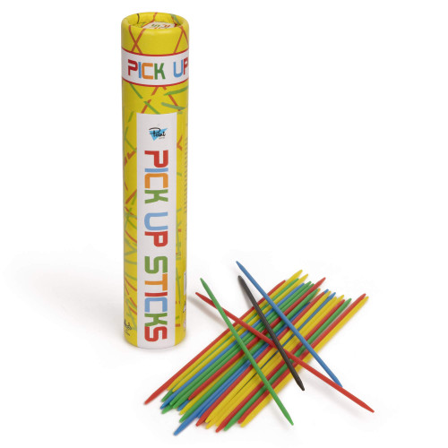 Point Games Pick Up Sticks Tube, Classic Game with 30 Bright Neon Pcs and a Storage Cylinder, Great for Any Gathering and Travel, Recommended Ages 3+