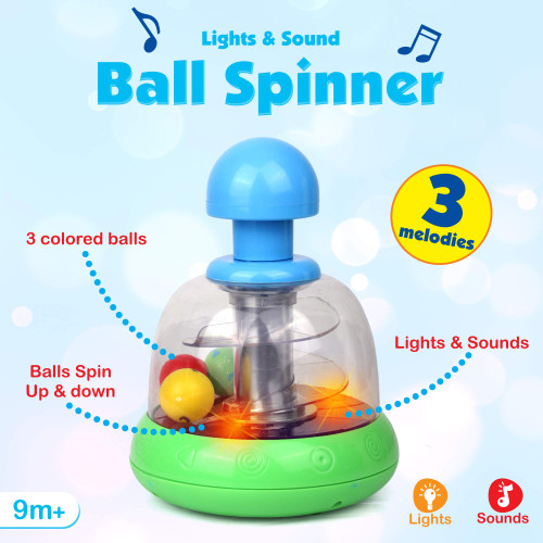 Playkidz Light and Sound Ball Spinner - Interactive Developmental Toy w Melodies and Lights for Kids - Imaginative Play with Colorful Balls - Recommended Age 9 Months+