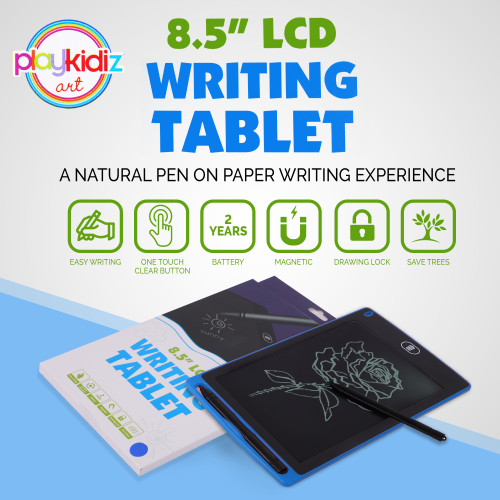 """Playkidz Art LCD Drawing Tablet, Writing Tablet for Kids and Adults, Multi-Use Office and Drawing Pad, 8.5"""" x 6"""" - Great Gift (Blue)"""