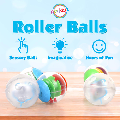 Playkidz Super Durable 5 Pack Rolling and Rattling Sensory Balls, Textured Balls with Visible & Bright Interiors for Babies & Toddlers - Stress Relief Toy for Kids & Sensory Balls for Toddlers