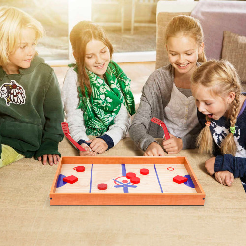 Point Games Tabletop Slap Shot Hockey Game, Super Durable Wooden Hockey Board with 2 Hockey Sticks and 5 Pucks, Great Family Game for Ages 4+