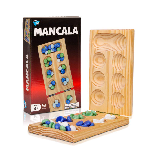 Point Games Solid Pine Mancalla - Folding Board Game with Blue, Green, White Marbles- Portable Strategy Travel Game - Recommended Ages 6+