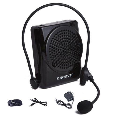 Croove Rechargeable Voice Amplifier   Portable Microphone with Headset, Supports MP3   Mini Voice Amplifier Ideal for Teachers & Singing   Waist/Neck Band & Belt Clip