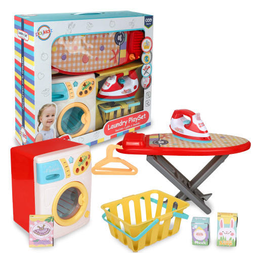 Playkidz Mini Laundry Play Set - Washer Set with Iron, Ironing Board, Washer and Much More - Lights and Sound Features - Educational Toy - Recommended Ages 3+