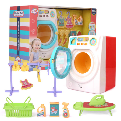 Playkidz Miniature Washer Play Set - Washer Set with Iron, Ironing Board, Washer, Clothes and Much More - Interactive Featured Educational Toy - Recommended Ages 3+