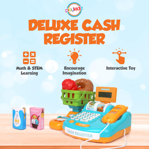 Playkidz Deluxe Interactive Cash Register - Developmental STEM Learning Toy for Kids - Handheld Scanner, Receipt, Basket & Much More - Recommended Ages 3+