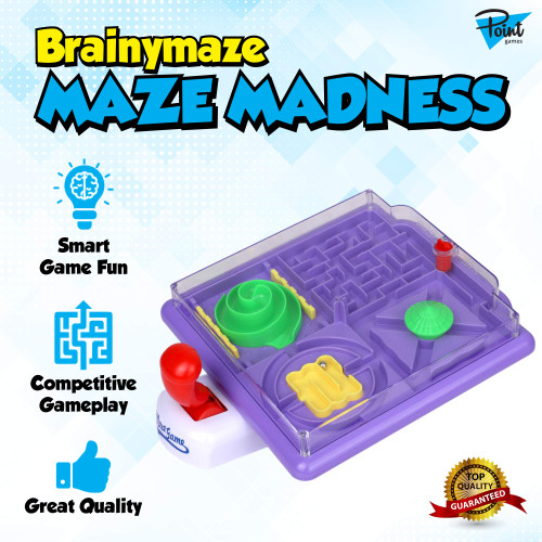 Point Games BrainyMaze Maze Madness - 4 in 1 Tilt Maze Puzzle Game - 1 Remote Control, Brain Teaser Toy - Developmental & Interactive Puzzle, Test Stabilizing Skills