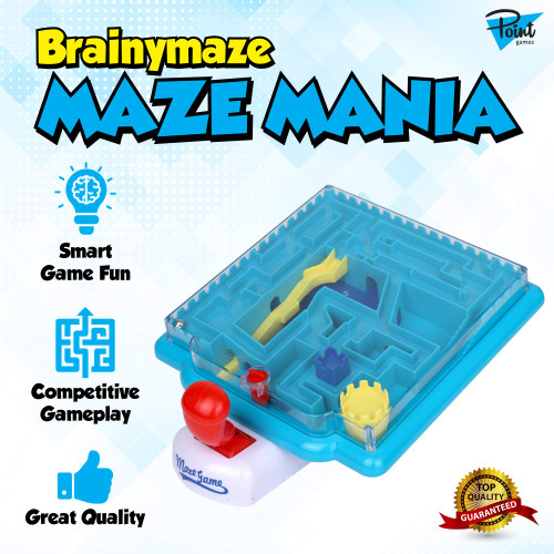 Point Games BrainyMaze Maze Mania - Tilt Maze Puzzle Game - 1 Remote Control, Brain Teaser Toy - Developmental & Interactive Puzzle, Test Stabilizing Skills- Recommended Ages 5+