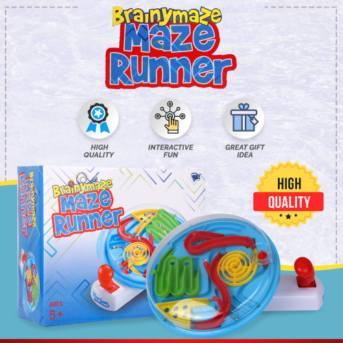 Point Games BrainyMaze Maze Runner - Tilt Maze Puzzle Game - 1 Remote Control, Brain Teaser Toy - Developmental & Interactive Puzzle, Test Stabilizing Skills- Recommended Ages 5+