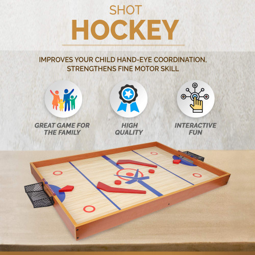 Point Games Tabletop Slap Shot Hockey Game, Super Durable Large Wooden Hockey Board with 2 Hockey Sticks and Pucks, Great Family Game for Ages 4+