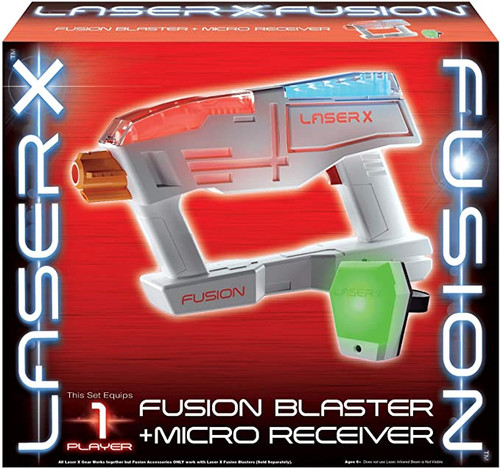 Laser X 2 Pack Fusion Blaster + Micro Receiver, Blaster Toy - One Player Each Pck - 30 Feet x 20 Wide Range - Fun for at Home or Outdoor Entertainment