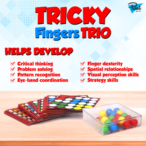 Point Games Tricky Fingers TRIO, a Multi-Color Puzzle Sensory Learning Game for ages 4+