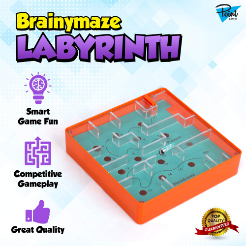 Point Games Brainymaze Labyrinth Game for Kids - Self-Contained Maze Toy - Balance Board Brain Teaser - Pocket Size Board Game Toy Perfect for Travel - Boost Kids Fine Motor Skills - Kids Ages 4+
