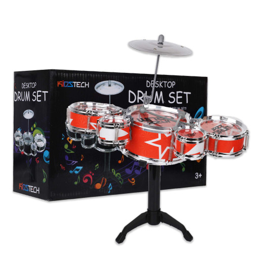 Kidstech Drum Set - Musical Instrument for Kids - Toddler Rock Set - 5 Jazz Drum Set, Cymbal and 2 Drumsticks - Musical Drum Toy for Girls and Boys