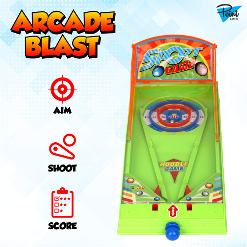 Point Games Arcade Blast - Miniature Tabletop Sports Shooting Arcade Game - Self-Contained & Safe Arcade Toy - Small Board Game- Shooting Machine for Kids - Ideal Toy for Boys and Girls