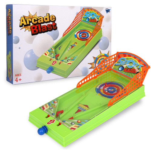 Point Games Arcade Blast - Miniature Tabletop Sports Shooting Arcade Game - Self-Contained & Safe Arcade Toy - Small Board Game- Shooting Machine for Kids