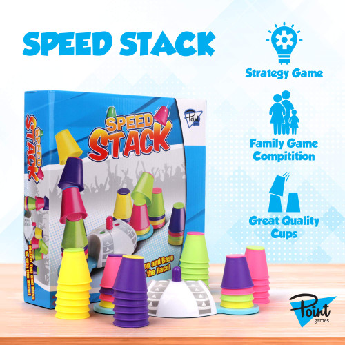 Point Games Speed Stack - Fun Family Stacking Cups Game Set - Board Game for Girls and Boys - Quick Cups Challenge Toy - Toddlers and Kids Ages 4 and up