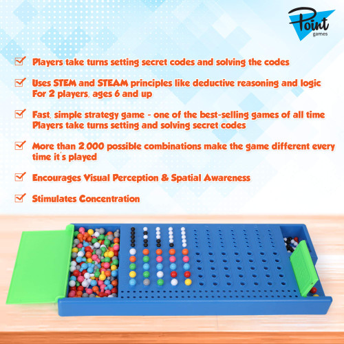 Point Games Code Breaker Board Game - Mastermind Code Breakers Toy - STEM Toys - Color Brain Game - Kids Development - Toys for Boys & Girls, Suitable for 8+ Ages and up - Family Games