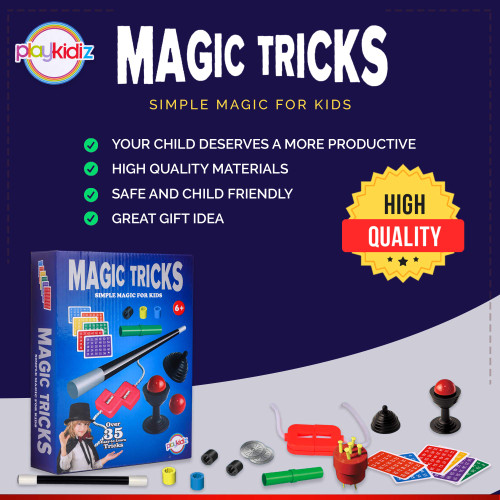Playkidz Magic Trick for Kids Set 1 - Magic Set with Over 35 Tricks Made Simple, Magician Pretend Play Set with Wand & More Magic Tricks - Easy to Learn Instruction Manual - Best Gift for Beginners