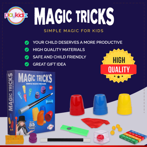 Playkidz Magic Trick for Kids Set 3 - Magic Set with Over 35 Tricks Made Simple, Magician Pretend Play Set with Wand & More Magic Tricks - Easy to Learn Instruction Manual - Best Gift for Beginners