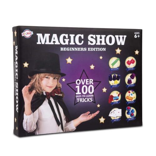 Playkidz Magic Show for Kids - Deluxe Set with Over 100 Tricks Made Simple, Magician Pretend Play Set with Wand & More Magic Tricks - Easy to Learn Instruction Manual - Best Gift for Beginners