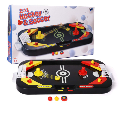 Point Games 2in1 Mini Air Hockey & Soccer Table - Arcade & Table Games w Pinball Soccer - Air Hockey Pucks and Paddles - Portable Toys for Boys and Girls
