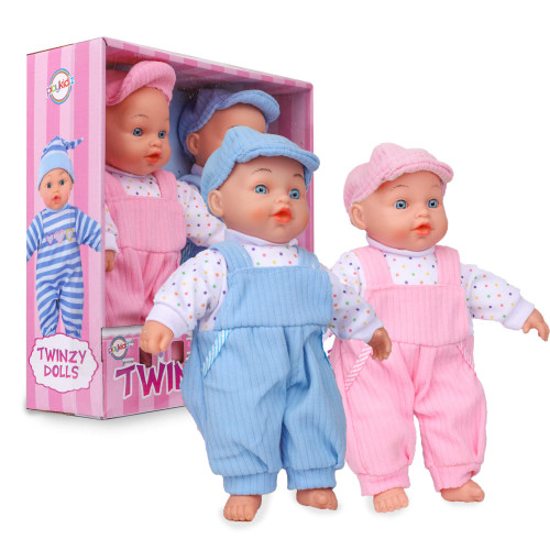Playkidz Baby Doll Twins - Twinzy Dolls for Toddlers - Dolls You Can Feed - Set of Boy and Girl Babies for Children Age 3+
