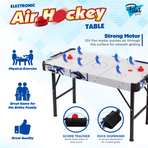 Point Games Air Hockey Table for Kids - Electric Powered Air Hockey Game - Foldable & Tabletop - Air Hockey for Kids & Adults - Games for Girls & Boys