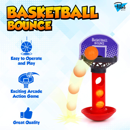 Point Games Basketball Bounce - Mini Desktop Basketball Classic Table Top Office Shooting Toy - Aiming Game with Balance Feature - Portable Toys for Boys, Girls or Sports Fan