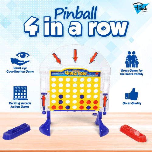 Point Games Pinball 4 in a Row -Board Games with Pinball Launcher - Line Up 4 Classic Game - Strategy Portable Toys for Boys and Girls