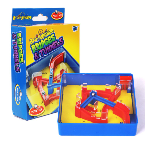 Point Games Brainymaze Bridges and Tunnels Game for Kids - Self-Contained Maze Toy - Balance Board Brain Teaser - Pocket Size Travel Board Game - Boost Kids Fine Motor Skills - Kids Ages 4+