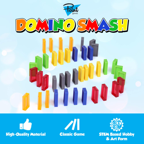 Point Games Domino Smash - 42 Pcs Building Blocks Racing Tile Games - Developmental Toy for Kids - Strong Dominoes in 6 Colors