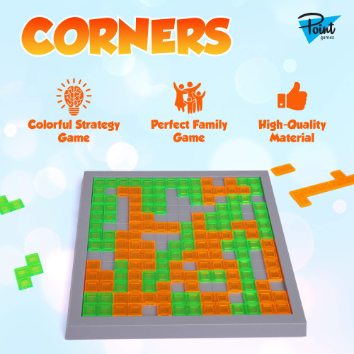 Point Games Corners! - Kids and Adult Strategy Game 2 Color, Blocks Educational Toys for 2 Players - Developmental & Interactive Strats, Test Planning and Concentration Skills- Ages 7+