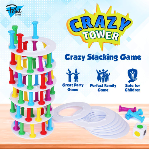 Point Games Crazy Tower - Stacking Tower Game with Fun Roman Column Design- Toppling Leaning Tower Toy with Dice - Developmental & Interactive Puzzle, Test Stabilizing Skills- Ages 5+