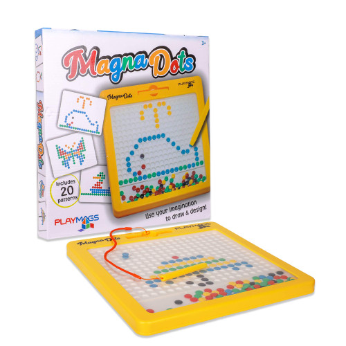 """Playmags Magna Dots - 12.5"""" Large Magnetic Board for Kids - Magnetic Doodle Dots Board with Magnetic Pen - Magna Doodle with Kids Safe Magnets - Kids & Toddler Travel Toy - Ages 3+"""