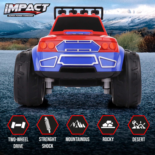 Impact RC Car Remote Control Truck - Steering Remote, Multi-Terrain Wheel Drive - 2.4Ghz 8km/h Off Road RC Trucks - Electric Toy Pickup Truck for All Adults & Kids Ages 6+