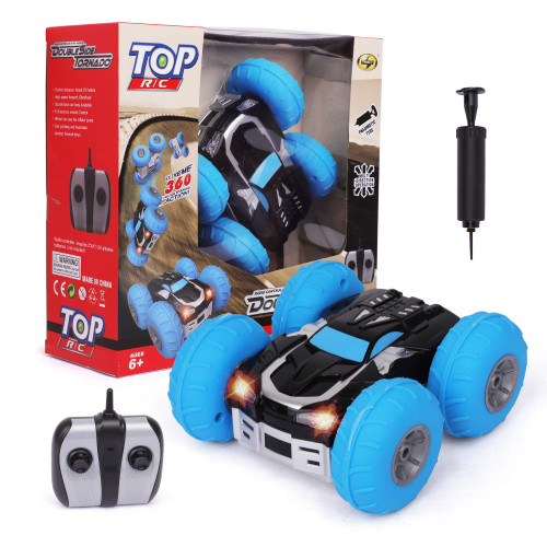 TOP R/C Car Remote Control - Steering Remote, Extreme 360 Wheel Drive - 12km/h Double Side RC, Stunt Action Vehicle - Electric Toy Car for All Adults & Kids Ages 6+