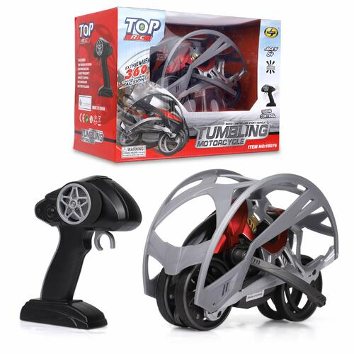 Tumbling R/C Motorcycle Remote Control - Steering Remote, Extreme 360 Wheel Drive - 2.4Ghz RC Stunt Vehicle with Rechargeable Battery - Electric Toy Car for All Adults & Kids Ages 6+