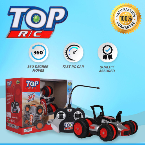 Top R/C Car Radio Controlled Vehicle - Steering Remote, Extreme 360 Wheel Drive - Off Road RC Stunt Action Vehicle - Electric Toy Car for All Adults & Kids Ages 6+