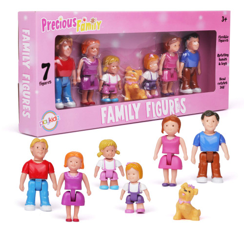 Playkidz Family Figures - Small Play People 7 Figurines Set , Parents, Sibling, and Pet -Early Development Play Figure Toy for Children - STEAM Learning Toys Children, Ages 3+